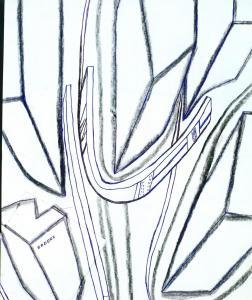 Detail z kresby Domy od O. Prouzy